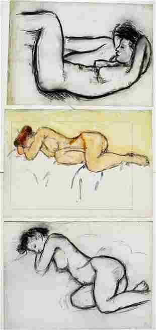 3 NUDE FEMALE / WOMEN DRAWINGS