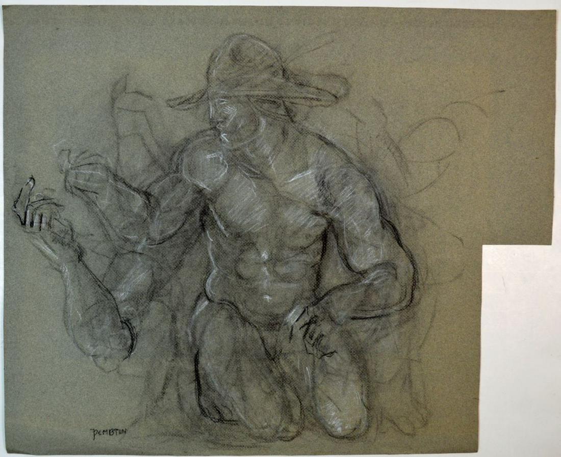PEMBERTON HOMOEROTIC FOLK ART NUDE MAN DRAWINGS
