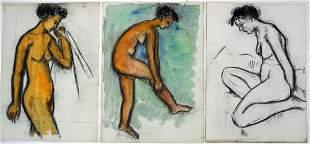 3 NUDE WOMEN / FEMALE PAINTINGS / DRAWINGS
