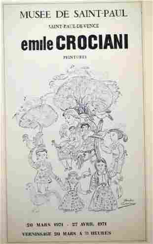 EMILE CROCIANI 1902-1979 EXHIBITION POSTER SIGNED