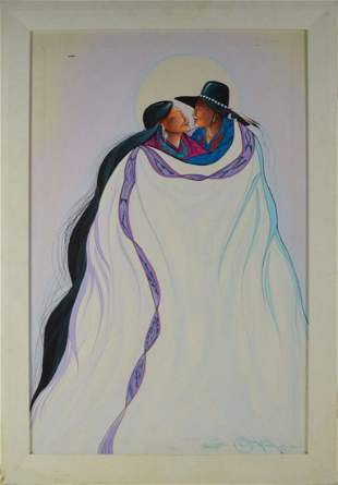 JC BLACK NATIVE AMERICAN PAINTING SIGNED