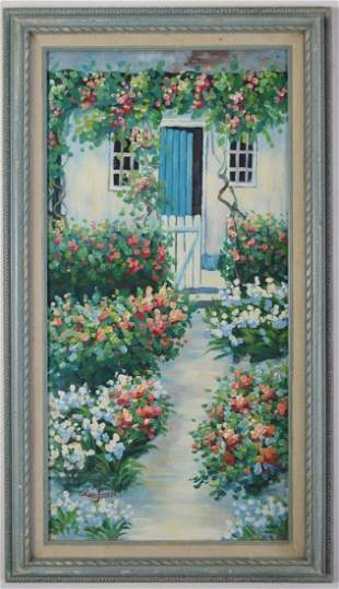 AMERICAN SCHOOL FLORAL PATH PAINTING SIGNED