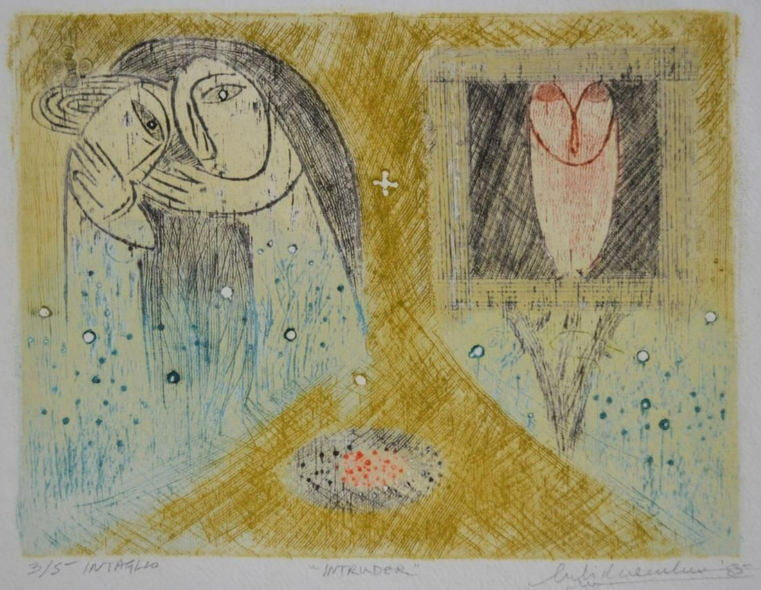 INDIAN MODERNIST CONTEMPORARY ETCHING SIGNED