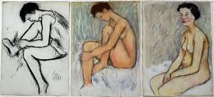 LOT (3) NUDE WOMAN DRAWINGS