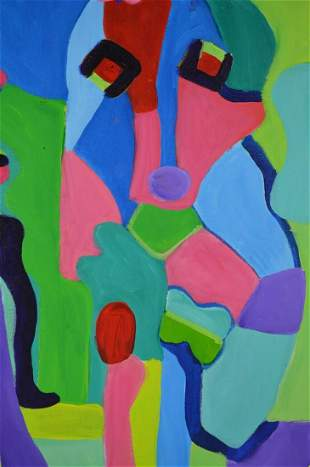 ABSTRACT OUTSIDER ART LOUISE ABRAMS PAINTING
