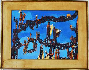 ABSTRACT SURREALIST PAINTING SIGNED