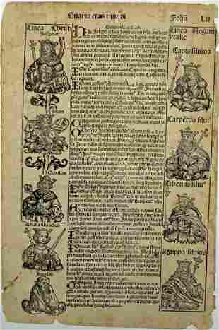 NUREMBERG CHRONICLE PAGE C.1494 WOOD CUT