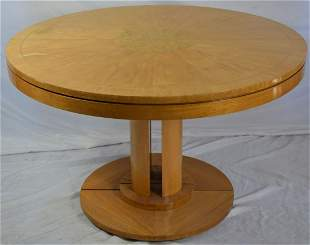 BAKER CIRCULAR PEDESTAL DINING TABLE W INLAY