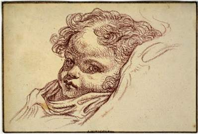 JEAN-BAPTISTE GREUZE (CIRCLE) DRAWING OF A CHILD