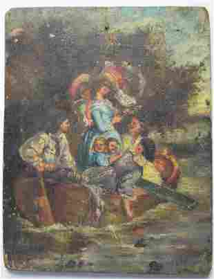 18TH / 19TH C FRENCH SCHOOL PAINTING ON PANEL