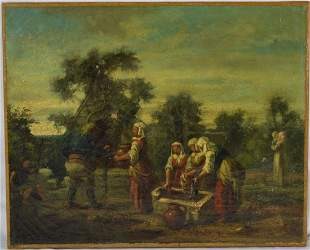 OLD MASTER PAINTING LANDSCAPE PEASANTS SIGNED