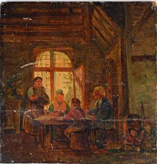 OLD MASTER STYLE GENRE PAINTING PANEL