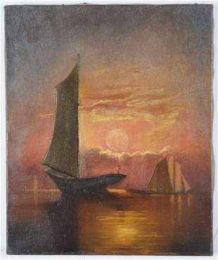 ANTIQUE AMERICAN MARITIME SAILING PAINTING SIGNED