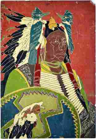 FOLK ART PAINTING NATIVE AMERICAN CHIEF SIGNED