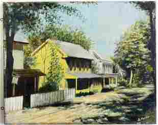 SOUTHERN VILLAGE TOWNSCAPE PAINTING SIGNED
