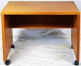TEAK MID CENTURY DESK / TABLE ON CASTERS