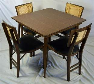 STAKMORE MCM DINING / CARD TABLE & 4 CHAIR SET