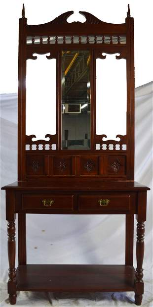 VINTAGE HIGH HALL CONSOLE TABLE W MIRROR