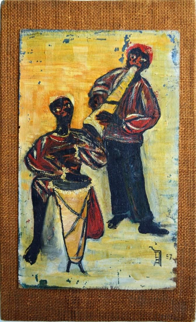 AFRICAN AMERICAN OUTSIDER POP ART PAINTING SIGNED