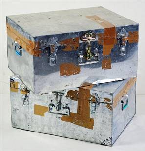 MODERN GALVANIZED METAL UTILITY BOXES / CHESTS (2)