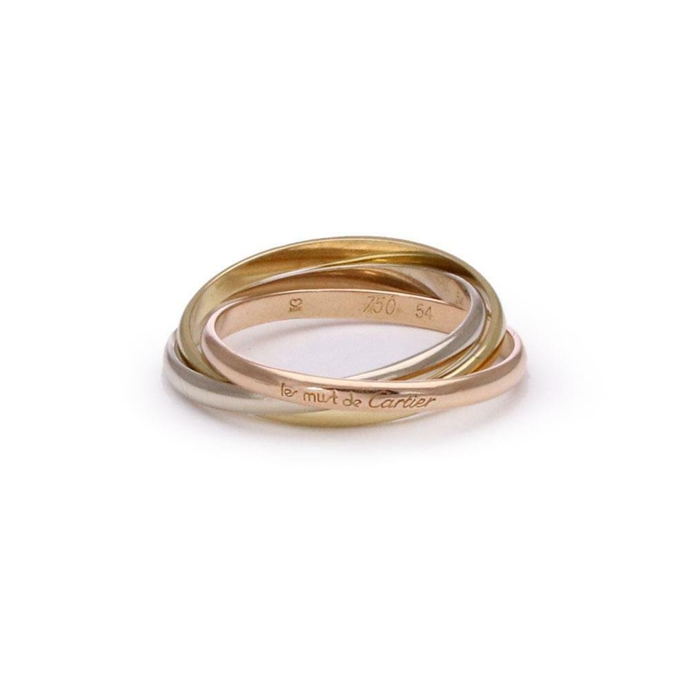 Cartier Trinity 18k Tricolor Gold 2mm Rolling Band Ring