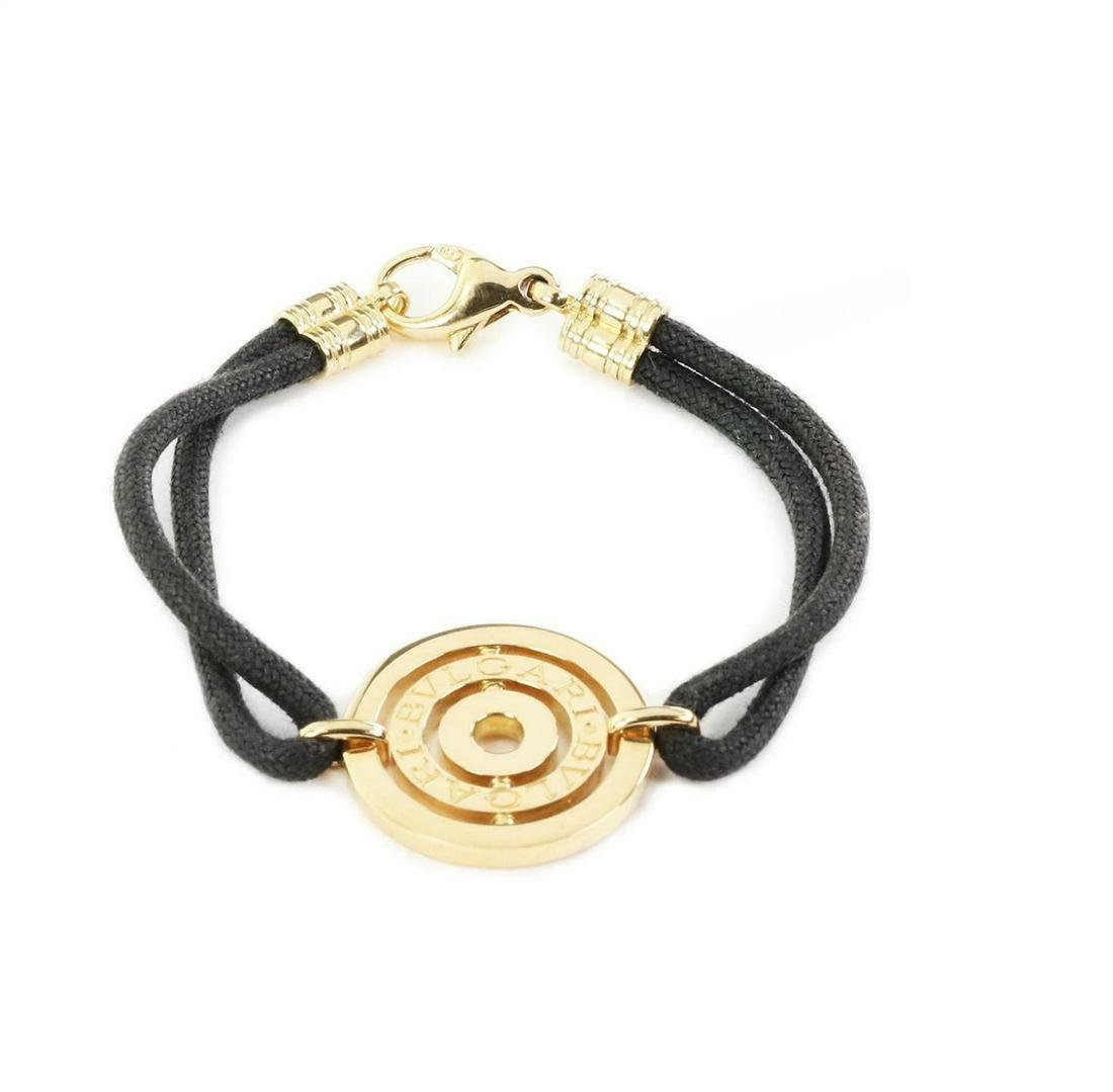 Bulgari 18k Gold Engraved Circle Charm Cord Bracelet
