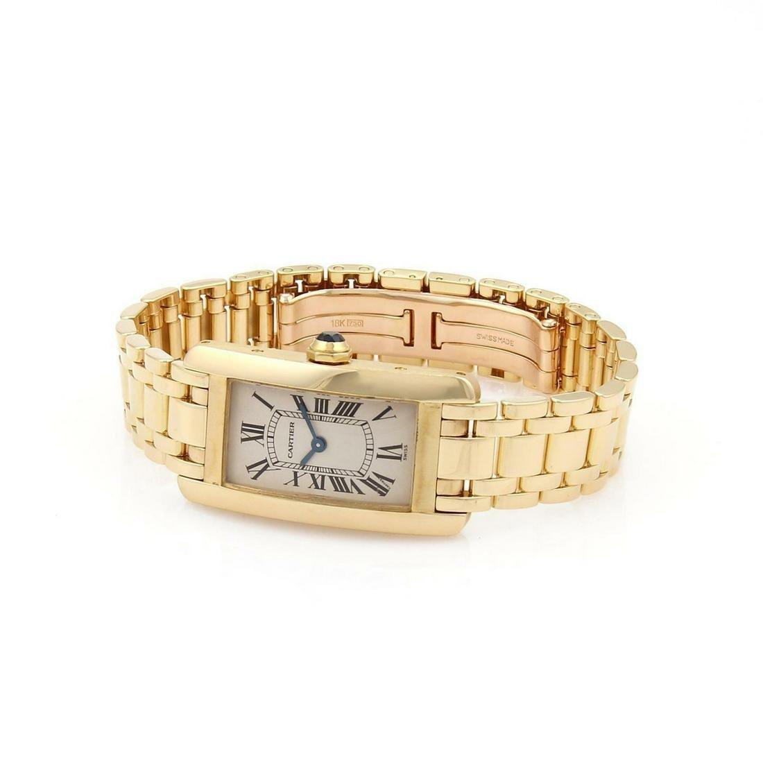 Cartier Tank Americaine 18k Ladies Quartz Wrist Watch