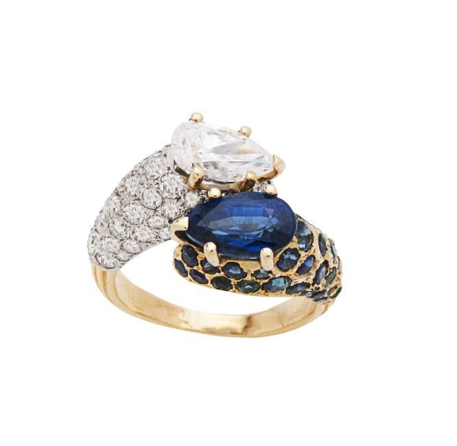 Estate Cartier 18k Yellow Gold Sapphire Diamond Ring Sz
