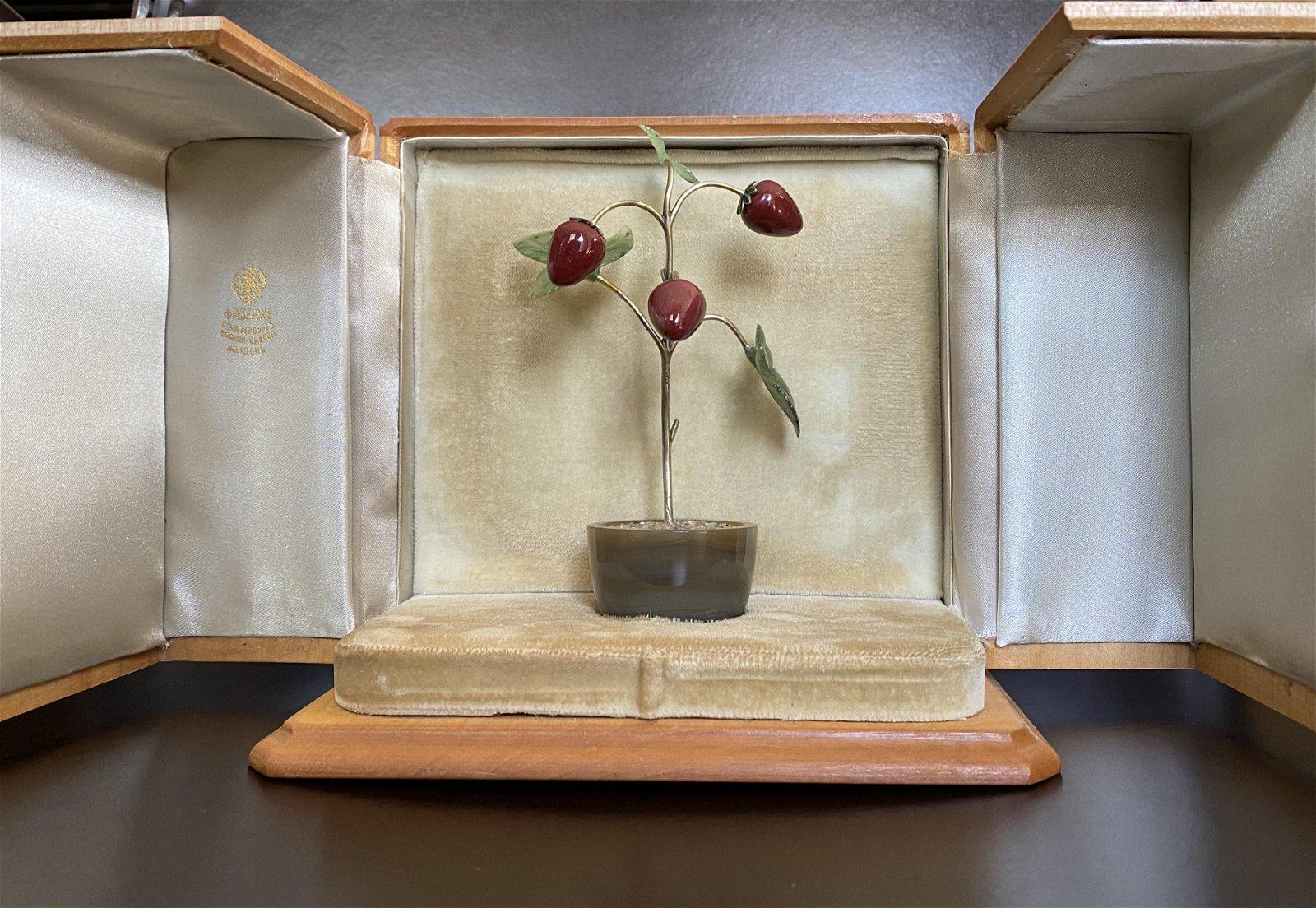 Faberge Russian Silver Nephrite Red Jasper Honey Agate