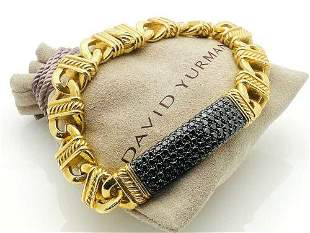 "David Yurman 18K Gold Black Diamond Link 8"" Bracelet"
