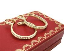 Estate Cartier 18k Diamond Hoop Earrings