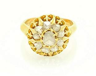 Antique Edwardian 22k Gold Rose Cut Diamond Ring Size 5