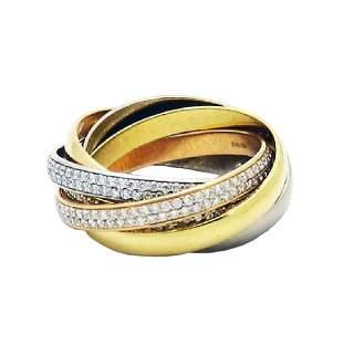 Rare Cartier Plat 18K Gold Diamonds Trinity 6 Bands