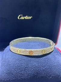 Cartier Yellow Gold Pave Diamond Love Bracelet Size 17