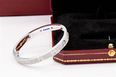Cartier 18K White Gold 3.44tcw Diamond Love Bracelet