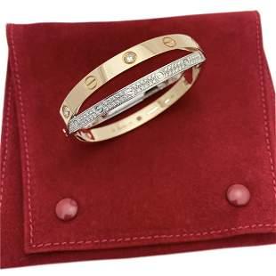 CARTIER 18K ROSE WHITE GOLD PAVE DIAMOND LOVE BRACELET