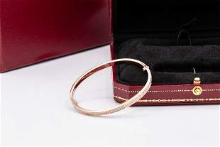 Cartier 18k PAVÉ DIAMOND LOVE BRACELET THIN MODEL