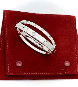 CARTIER 18K WHITE GOLD 12 DIAMOND LOVE BRACELET SIZE 17