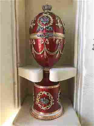 RUSSIAN LARGE GOLD DIAMOND RUBY GUILLOCHE EGG