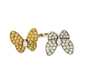 VAN CLEEF & ARPELS 18K GOLD TWO BUTTERFLY RING