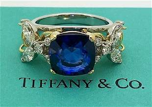 Tiffany Schlumberger Double Bee Platinum Gold Sapphire
