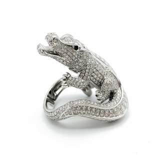 Cartier Emerald Diamond Platinum Alligator Ring Size 54