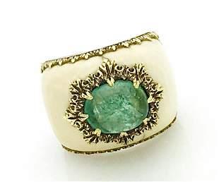 Buccellati 18k Gold Brazilian Emerald Ring  Size 4.75