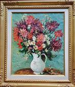 MARCEL DYF FRENCH PAINTING ON CANVAS DAHLIAS