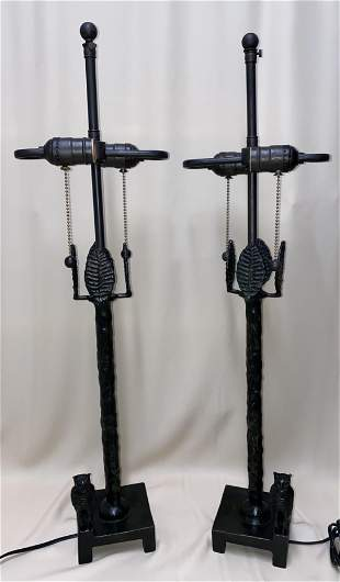 Diego Giacometti pair of large bronze owl table lamps