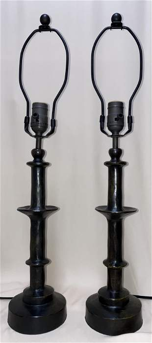 Diego Giacometti pair of large bronze table lamps