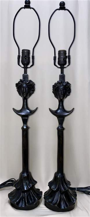 DIEGO GIACOMETTI LARGE SWISS BRONZE PAIR OF LAMPS