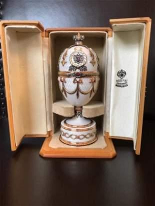 Russian Huge Jeweled Gold Diamond Guilloche Egg