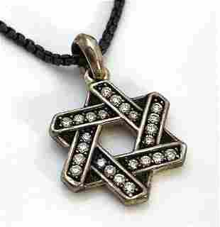 David Yurman Star of David Diamond 925 Silver Pendant