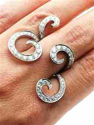 Van Cleef & Arpels 18k White Gold Diamond Ring Sz 6 #5